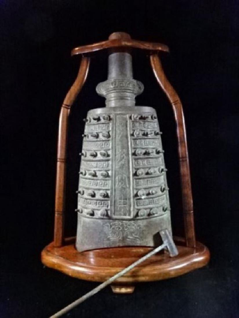 ASIAN BRONZE BELL ON WOOD STAND, WITH BRONZE MALLOT, - 2