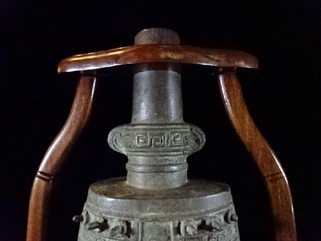 ASIAN BRONZE BELL ON WOOD STAND, WITH BRONZE MALLOT, - 5