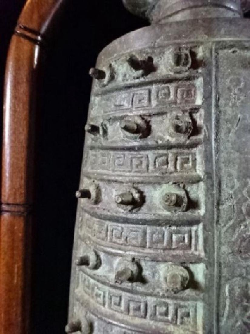 ASIAN BRONZE BELL ON WOOD STAND, WITH BRONZE MALLOT, - 6