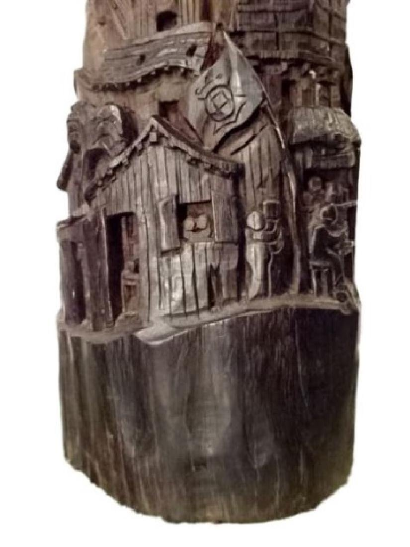 WOOD SCULPTURE, VILLAGE CARVED FROM SINGLE TREE TRUNK, - 2