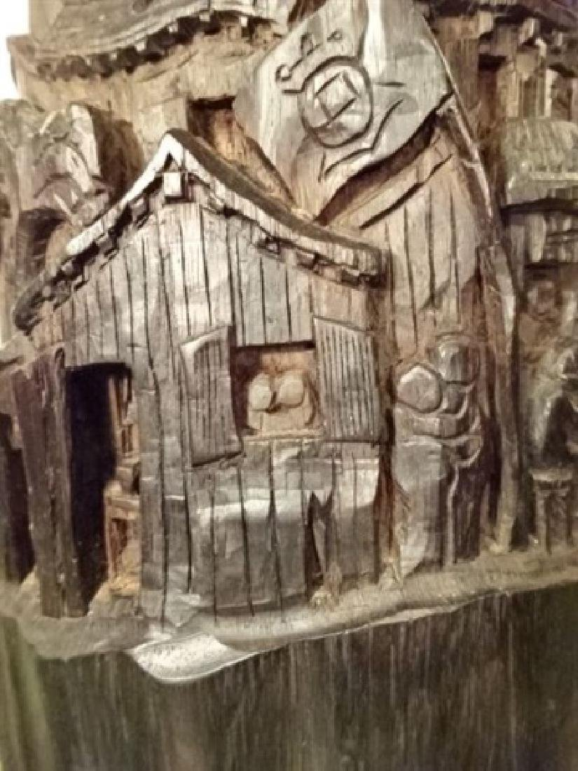 WOOD SCULPTURE, VILLAGE CARVED FROM SINGLE TREE TRUNK, - 3