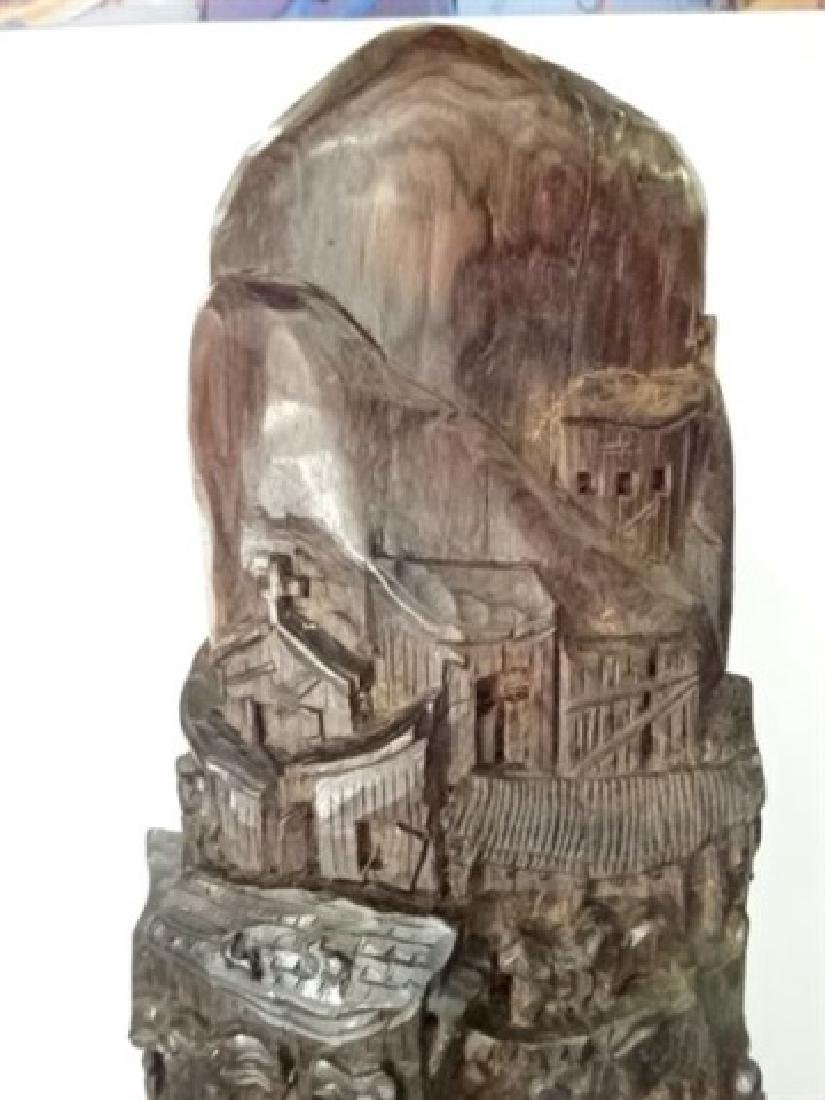 WOOD SCULPTURE, VILLAGE CARVED FROM SINGLE TREE TRUNK, - 5