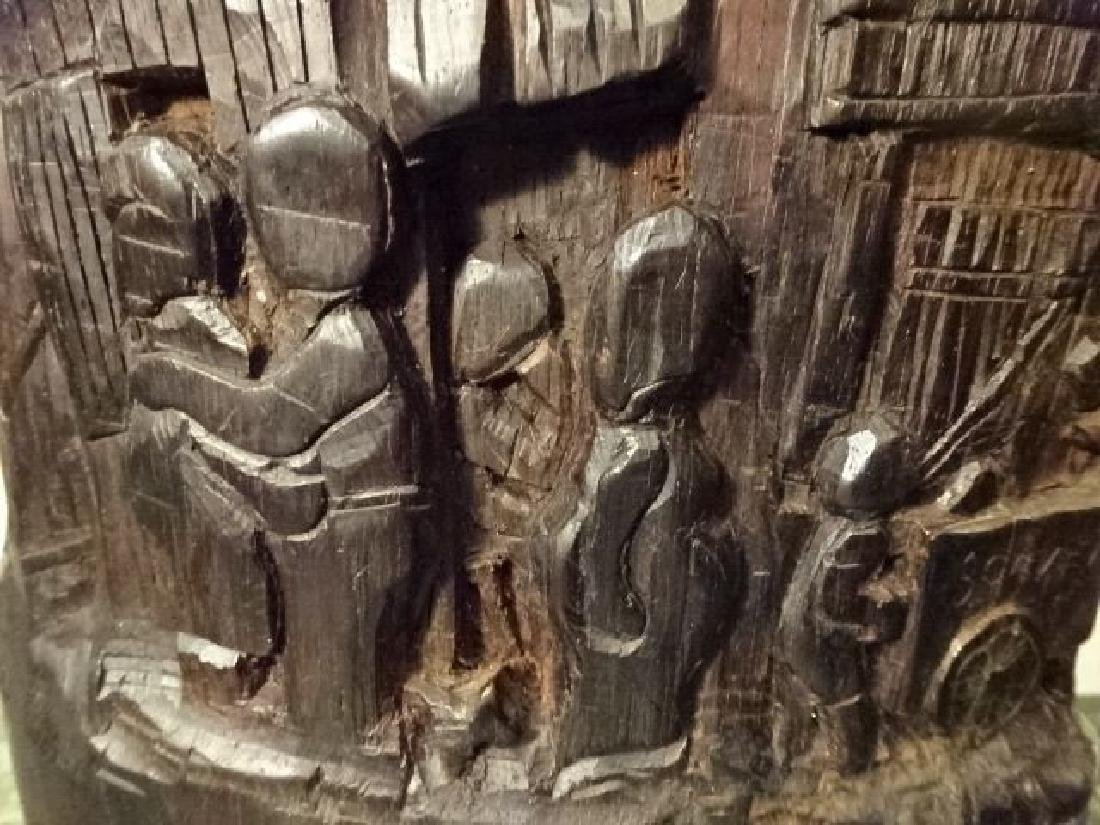 WOOD SCULPTURE, VILLAGE CARVED FROM SINGLE TREE TRUNK, - 7