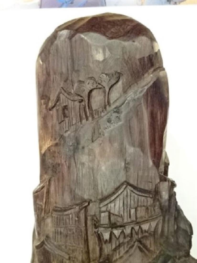WOOD SCULPTURE, VILLAGE CARVED FROM SINGLE TREE TRUNK, - 8