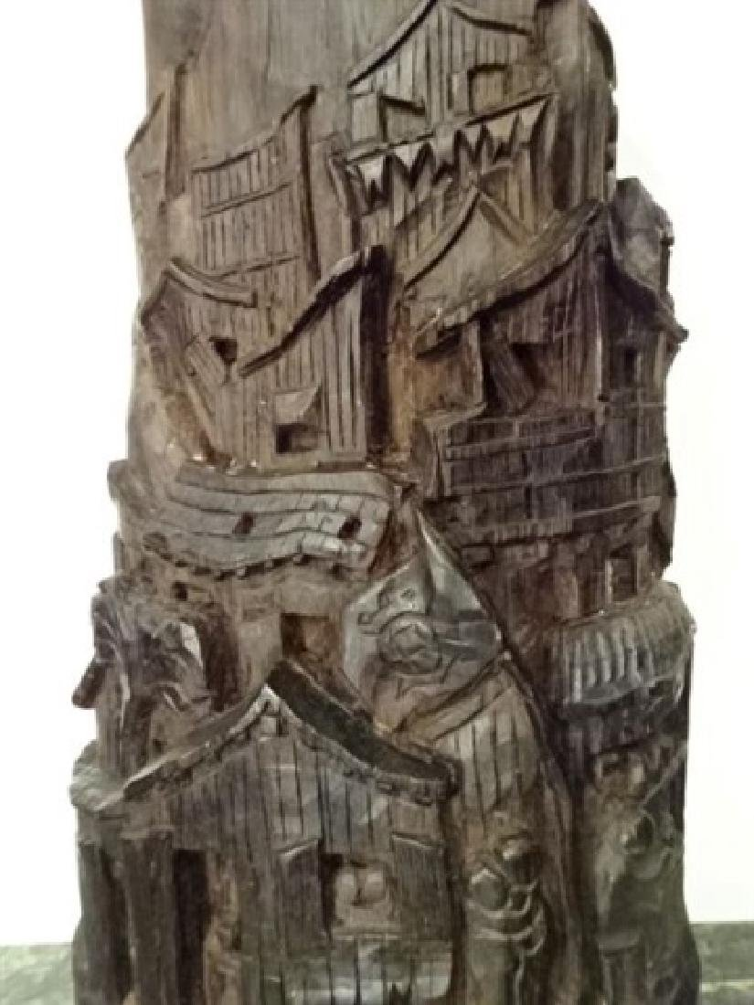 WOOD SCULPTURE, VILLAGE CARVED FROM SINGLE TREE TRUNK, - 9