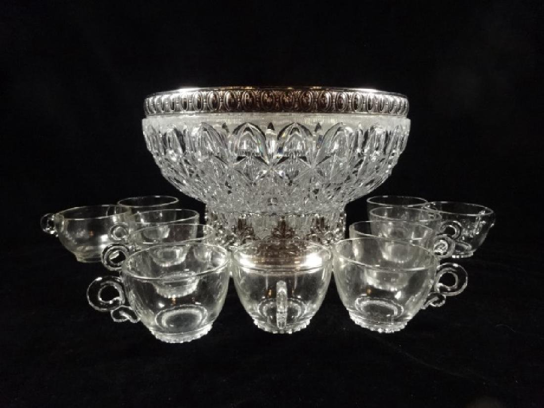 12 PC CRYSTAL PUNCHBOWL SET, PUNCHBOWL WITH ORNATE