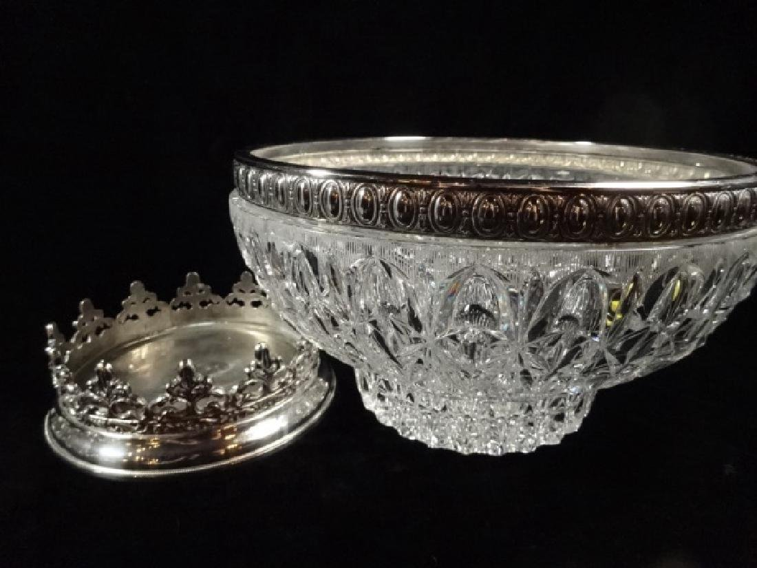 12 PC CRYSTAL PUNCHBOWL SET, PUNCHBOWL WITH ORNATE - 6