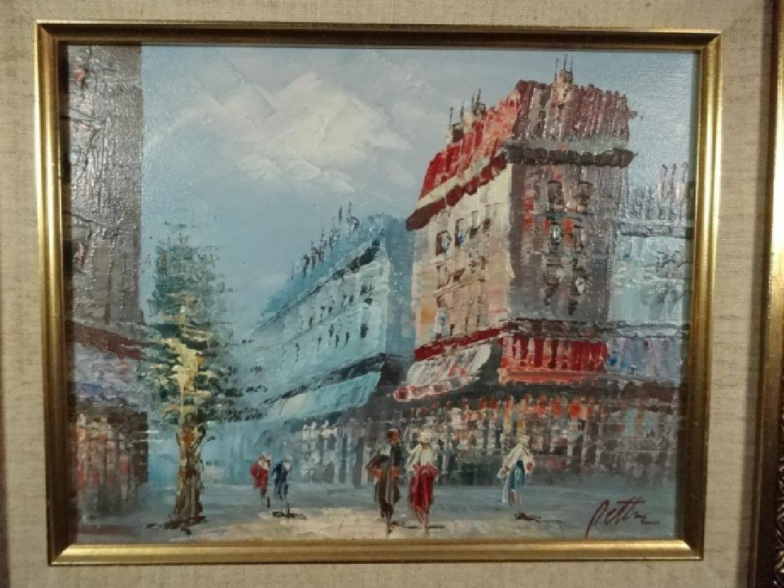 SMALL OIL PAINTING ON CANVAS, FRENCH CITY SCENE, SIGNED - 2