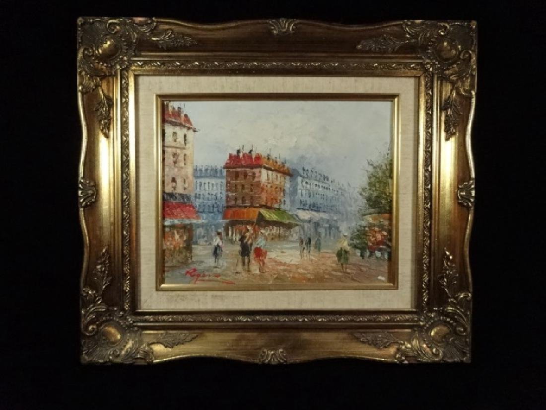 SMALL OIL PAINTING ON CANVAS, FRENCH CITY SCENE, SIGNED