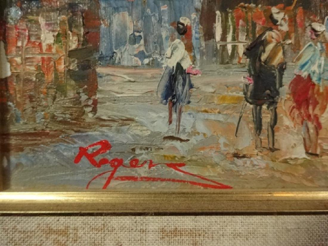 SMALL OIL PAINTING ON CANVAS, FRENCH CITY SCENE, SIGNED - 3