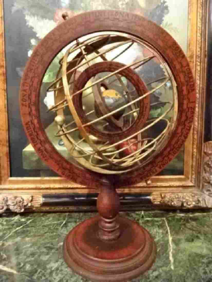 DECORATIVE WOOD AND METAL ASTROLABE, VERY GOOD