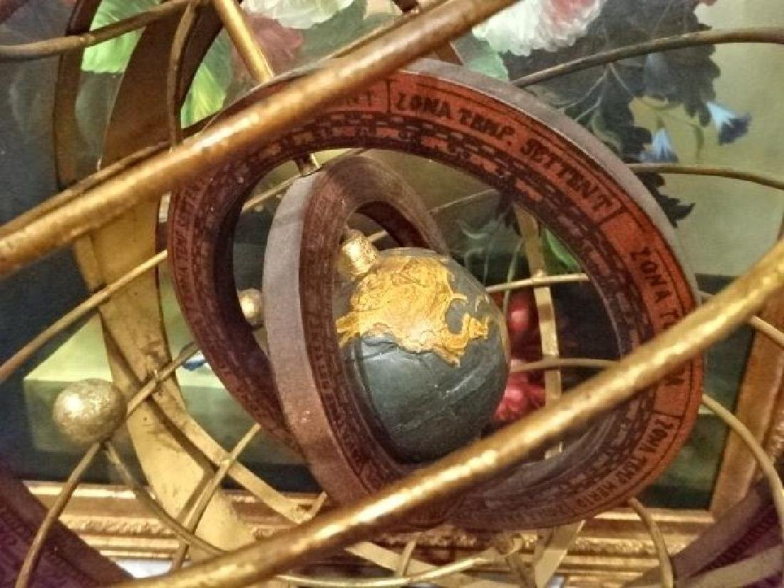 DECORATIVE WOOD AND METAL ASTROLABE, VERY GOOD - 5