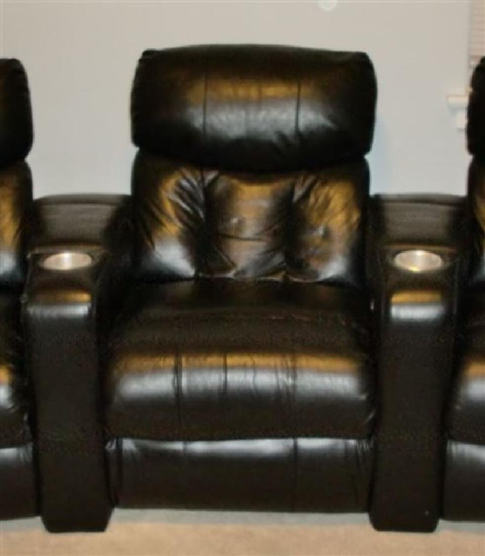 3 LEATHER RECLINER HOME THEATER SEATS, BLACK LEATHER - 2