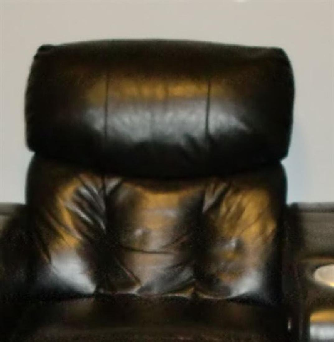 3 LEATHER RECLINER HOME THEATER SEATS, BLACK LEATHER - 4