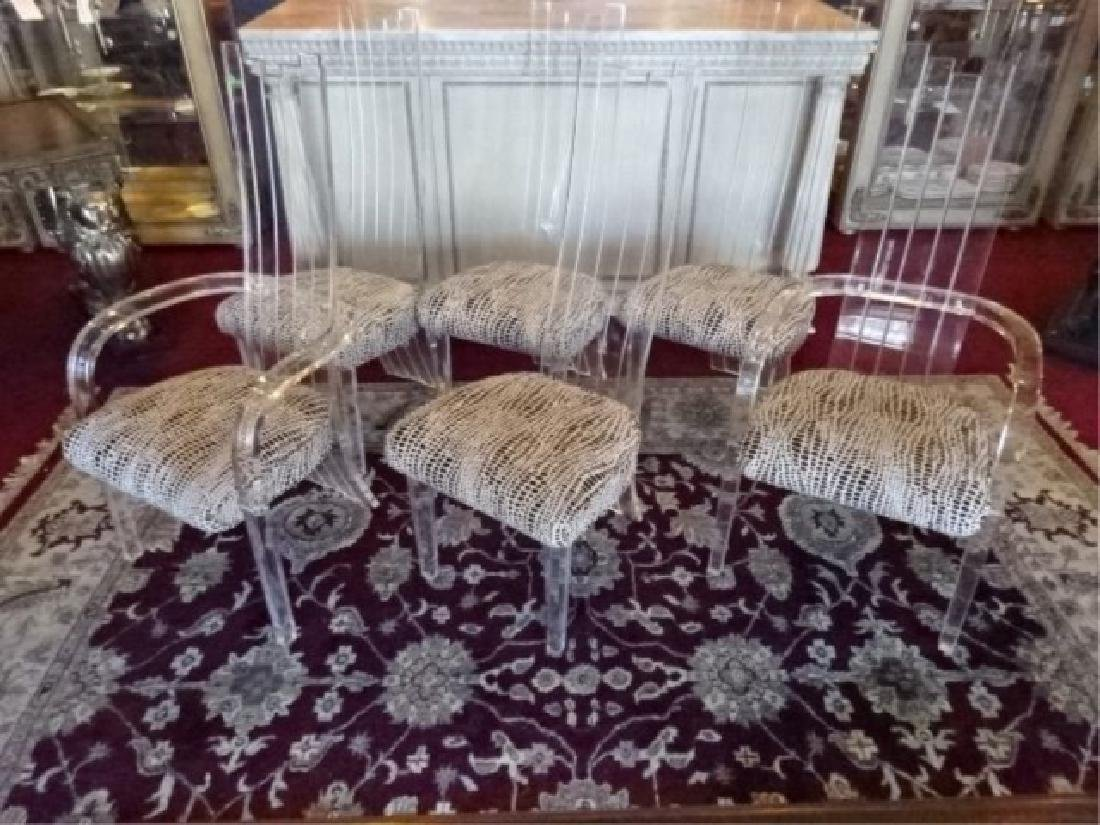 6 LUCITE DINING CHAIRS, CHARLES HOLLIS JONES STYLE, 2