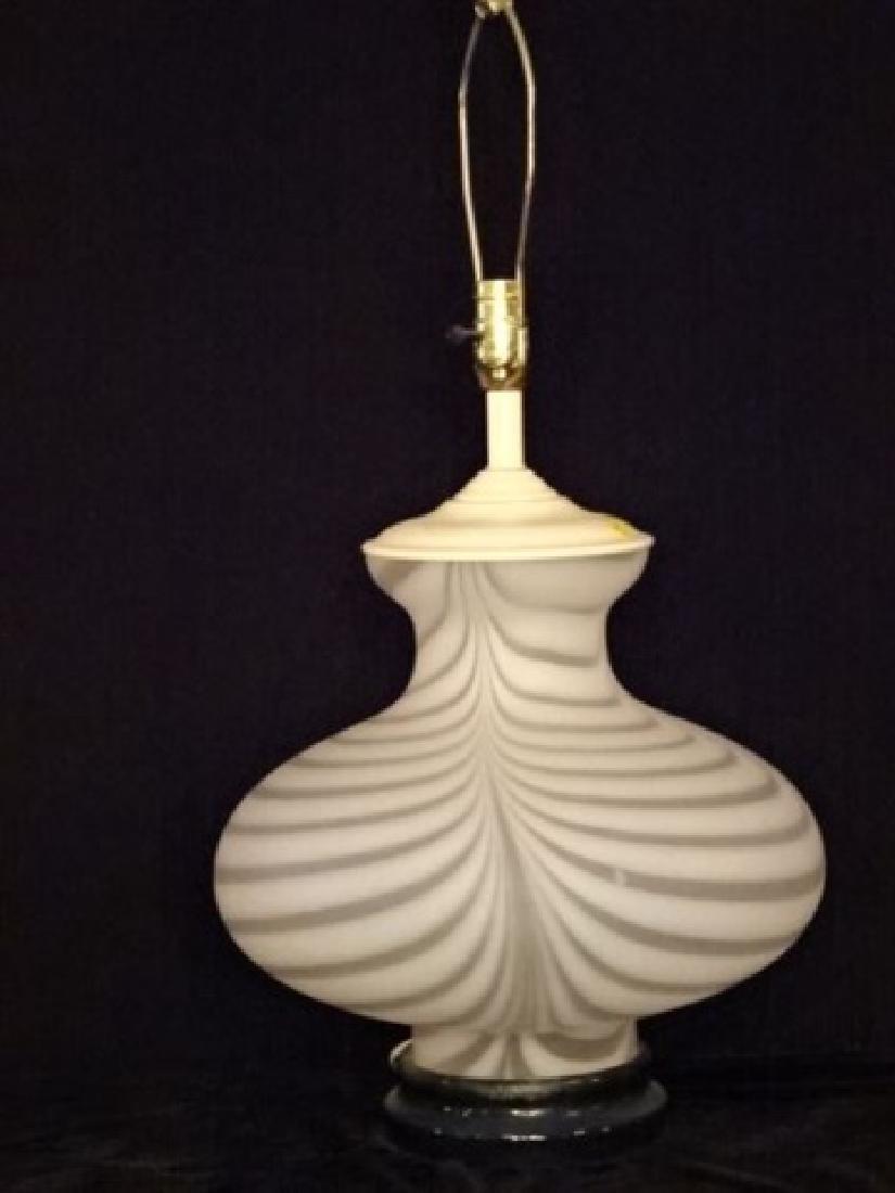 MID CENTURY WHITE ART GLASS LAMP, LUCITE BASE, MURANO