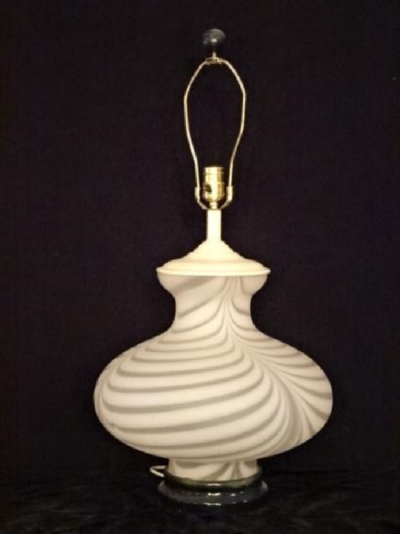 MID CENTURY WHITE ART GLASS LAMP, LUCITE BASE, MURANO - 2