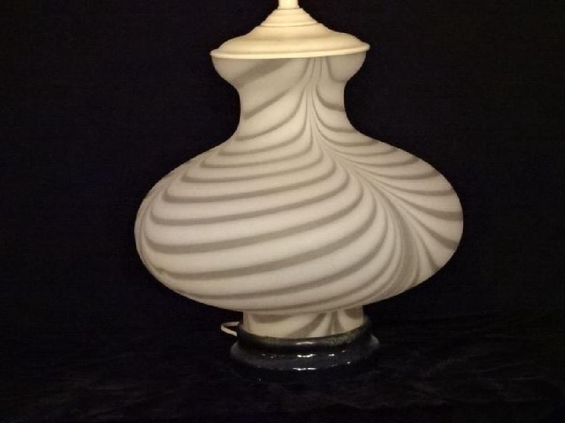 MID CENTURY WHITE ART GLASS LAMP, LUCITE BASE, MURANO - 3