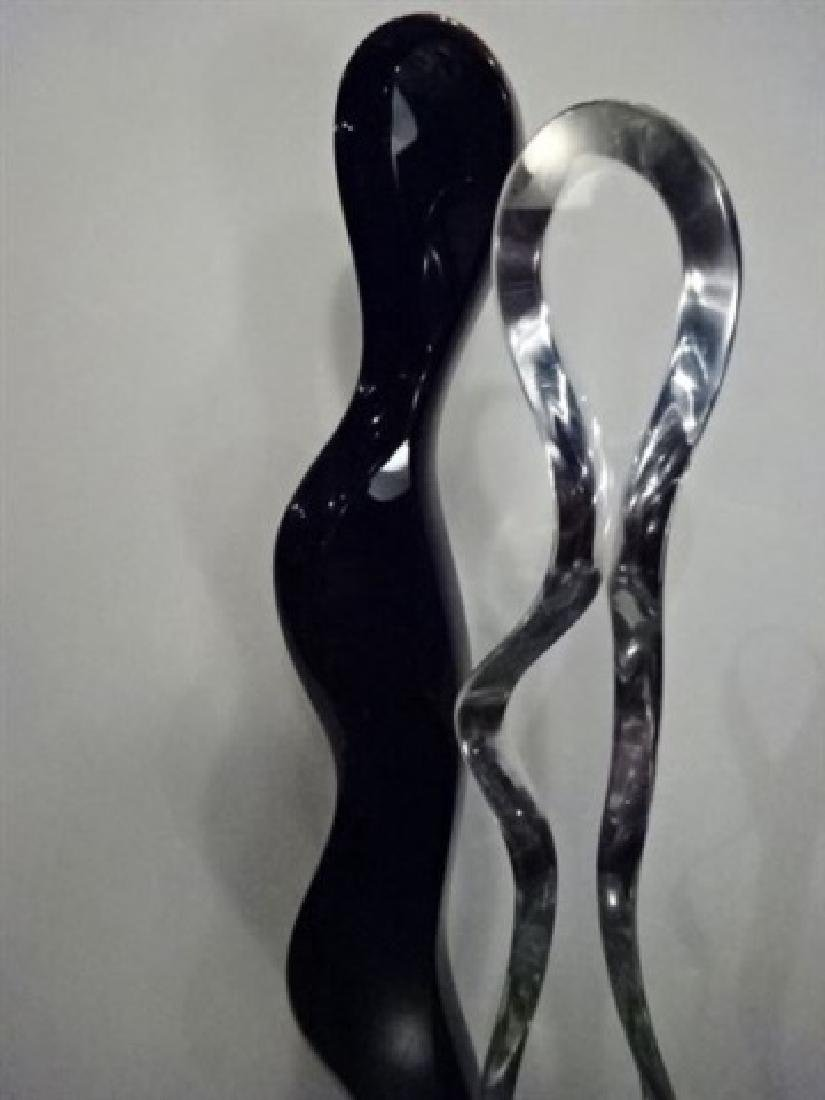 LUCY PHELPS LUCITE SCULPTURE, 2 LOVERS, CLEAR AND BLACK - 2