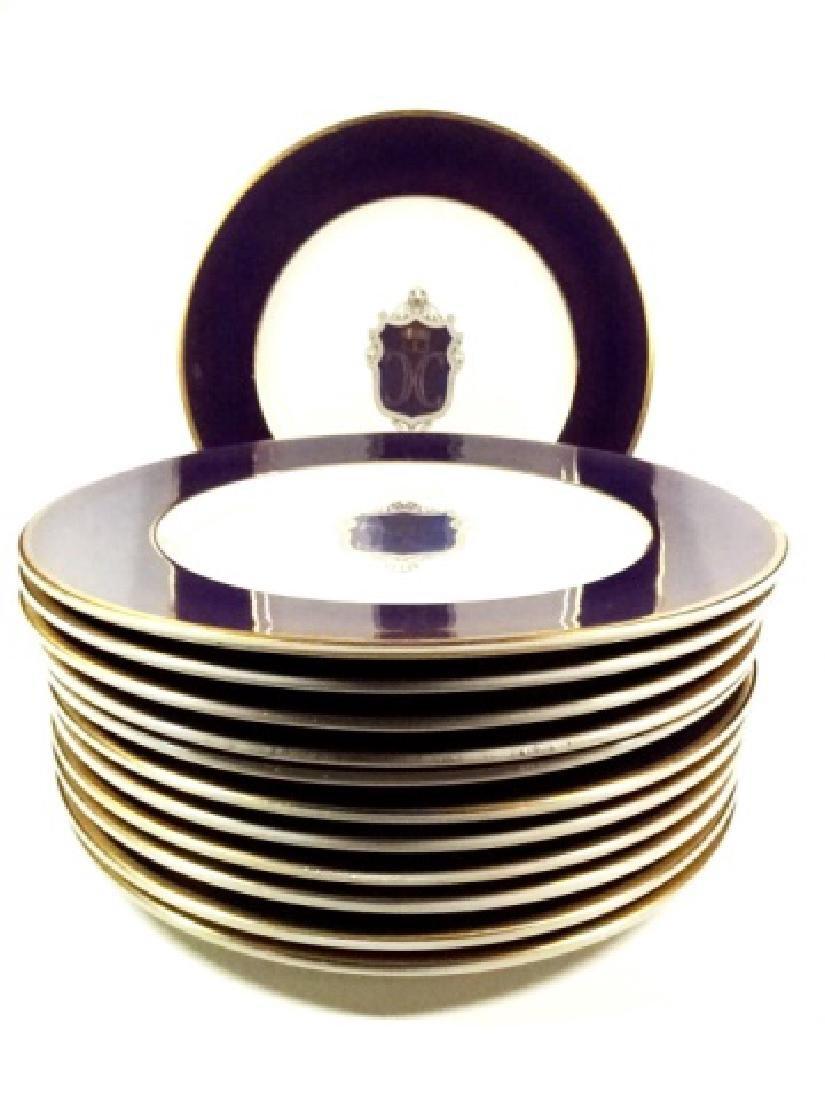 12 PC SYRACUSE CHINA DINNER PLATES, DARK BLUE/PURPLE