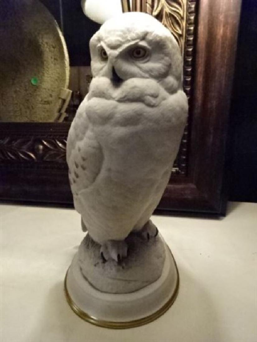 CERAMIC WHITE OWL TABLE LAMP, VERY GOOD CONDITION, - 3