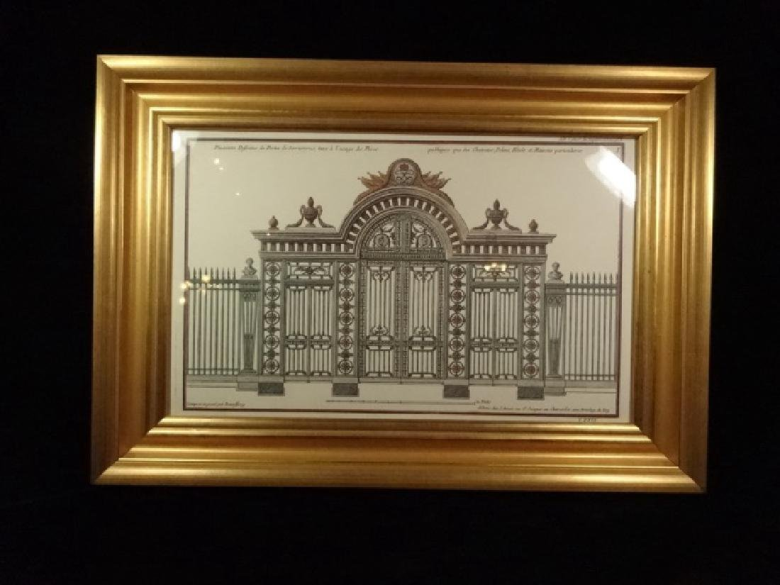 """ARCHITECTURAL PRINT, FRAMED SIZE APPROX 13 5/8"""" X 19"""