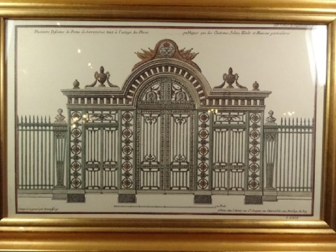 """ARCHITECTURAL PRINT, FRAMED SIZE APPROX 13 5/8"""" X 19 - 2"""