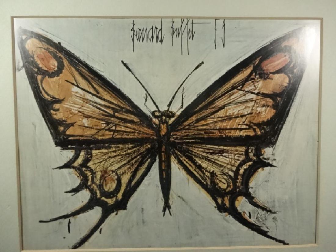 BERNARD BUFFET BUTTERFLY PRINT, FRAMED SIZE APPROX 12 - 2