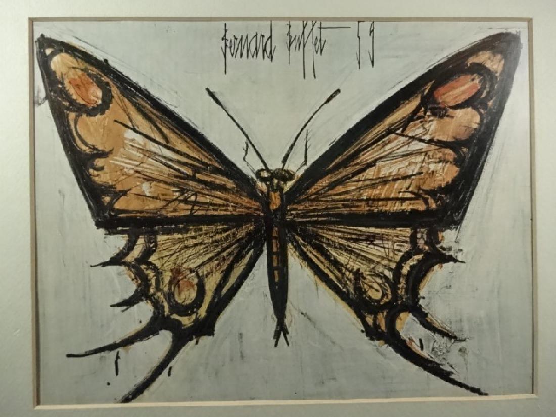 BERNARD BUFFET BUTTERFLY PRINT, FRAMED SIZE APPROX 12 - 3