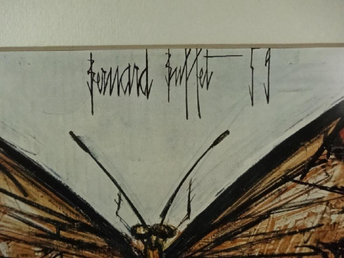 BERNARD BUFFET BUTTERFLY PRINT, FRAMED SIZE APPROX 12 - 4