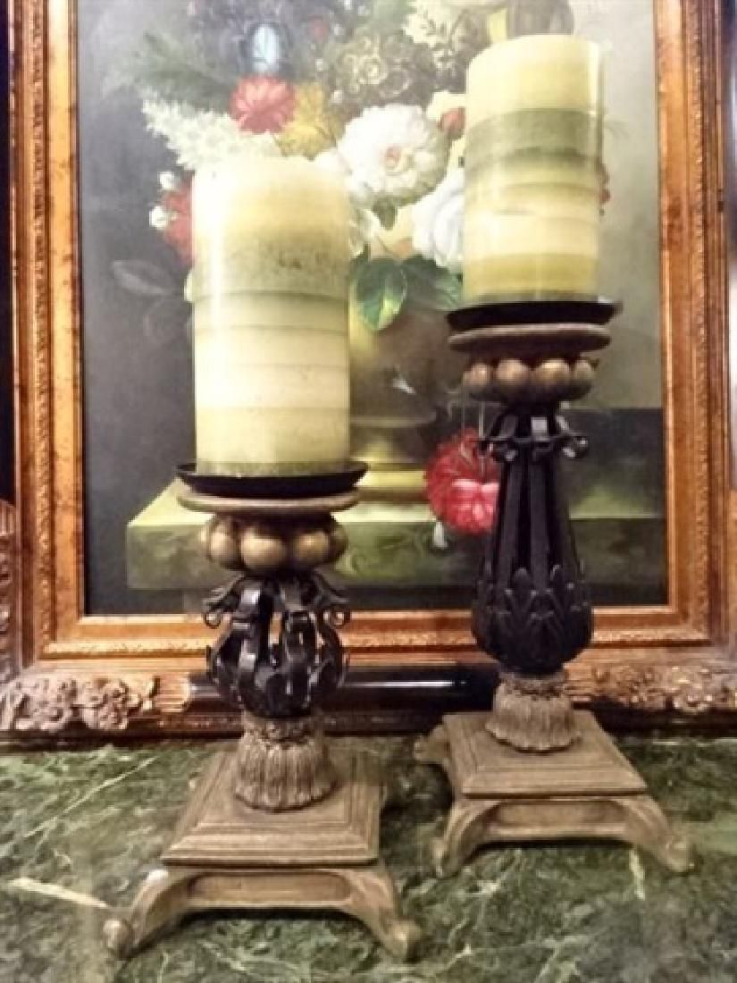 2 PC METAL AND COMPOSITE CANDLESTICKS, BRONZE FINISH,