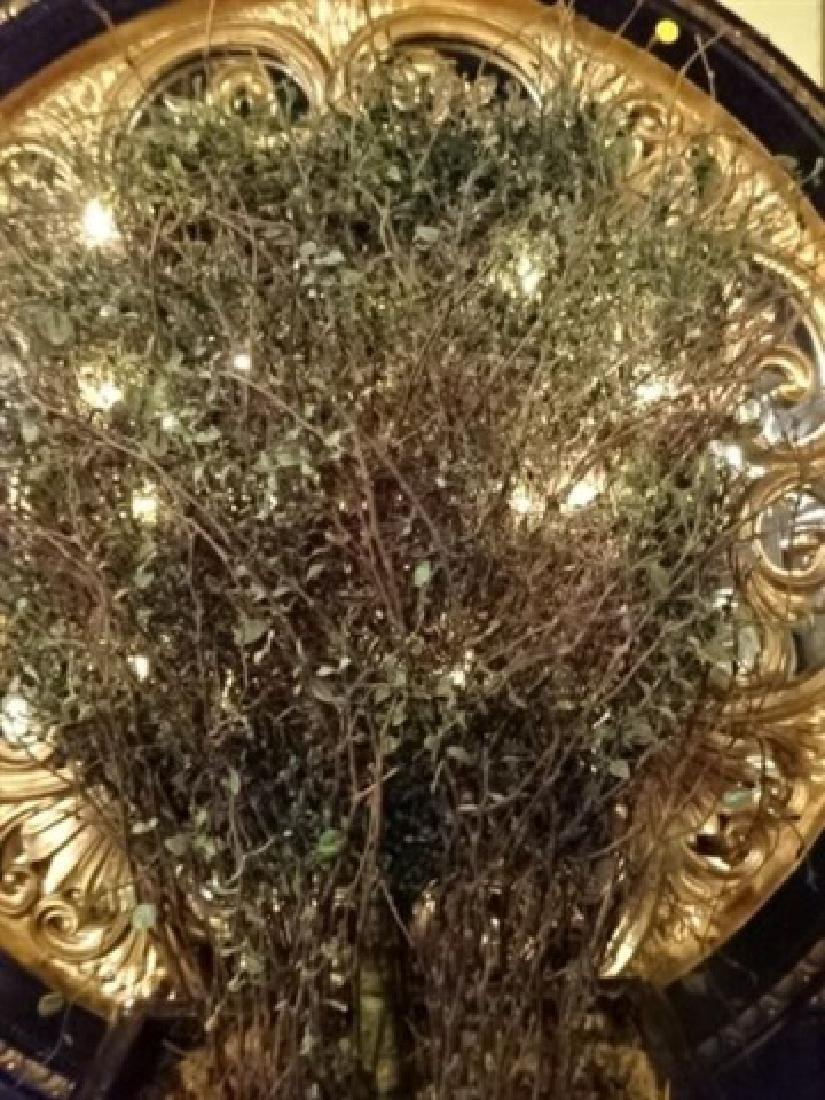 LIGHTED FAUX FOLIAGE IN ORNATE PLANTER, BLACK AND GOLD - 2