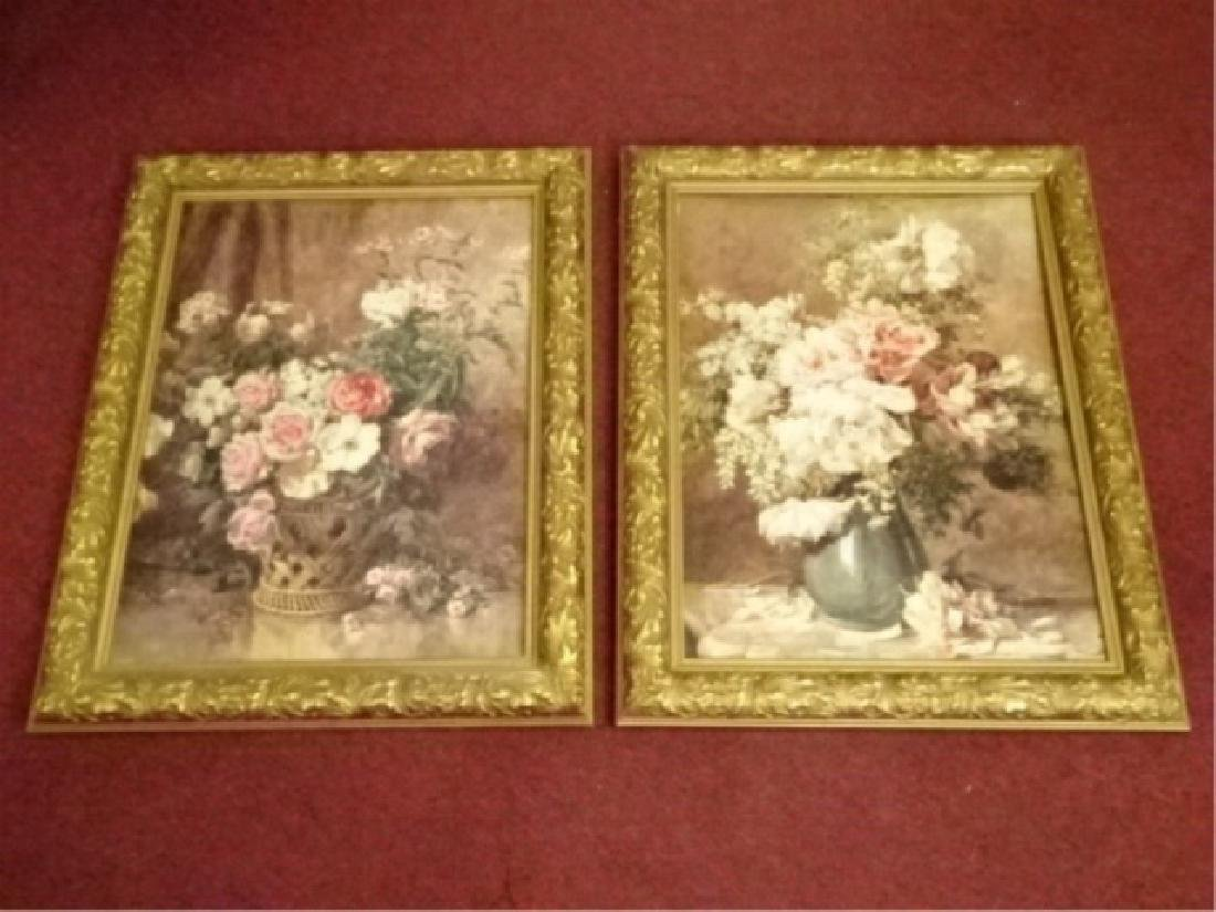 2 FRAMED RENOIR REPRODUCTION FLORAL GICLEES, IN GOLD