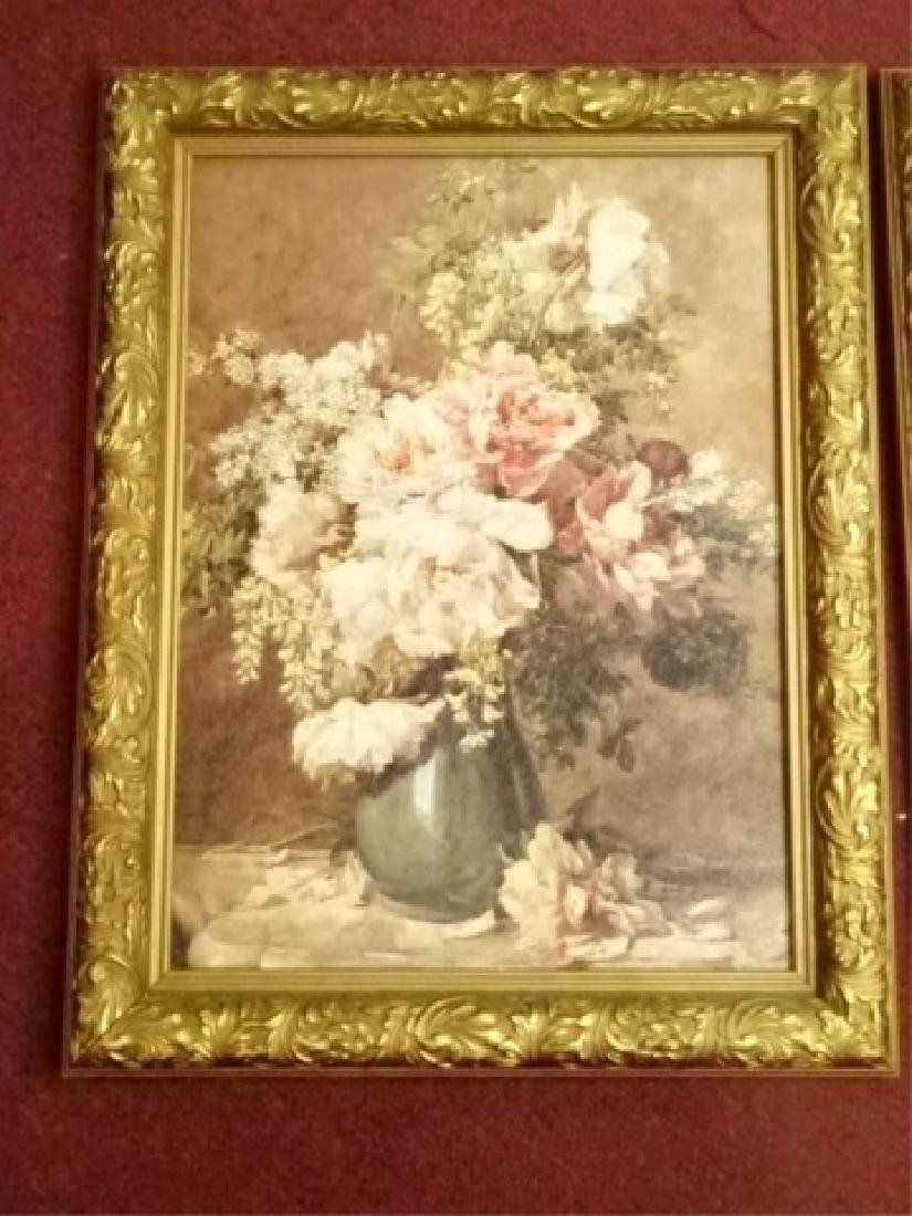 2 FRAMED RENOIR REPRODUCTION FLORAL GICLEES, IN GOLD - 2