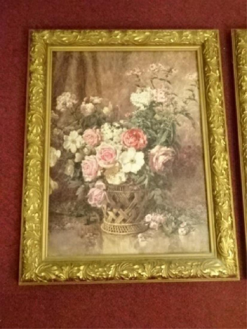 2 FRAMED RENOIR REPRODUCTION FLORAL GICLEES, IN GOLD - 3