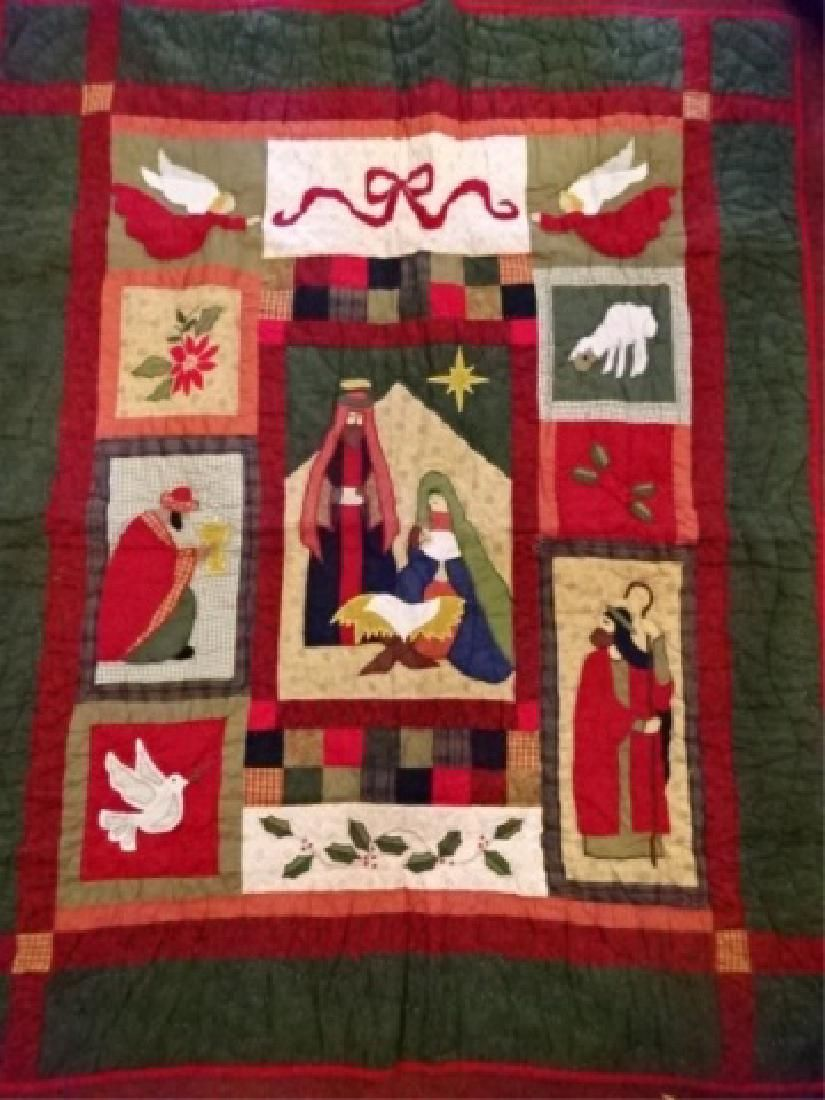 CHRISTMAS THEME QUILT, NATIVITY SCENE, VERY GOOD