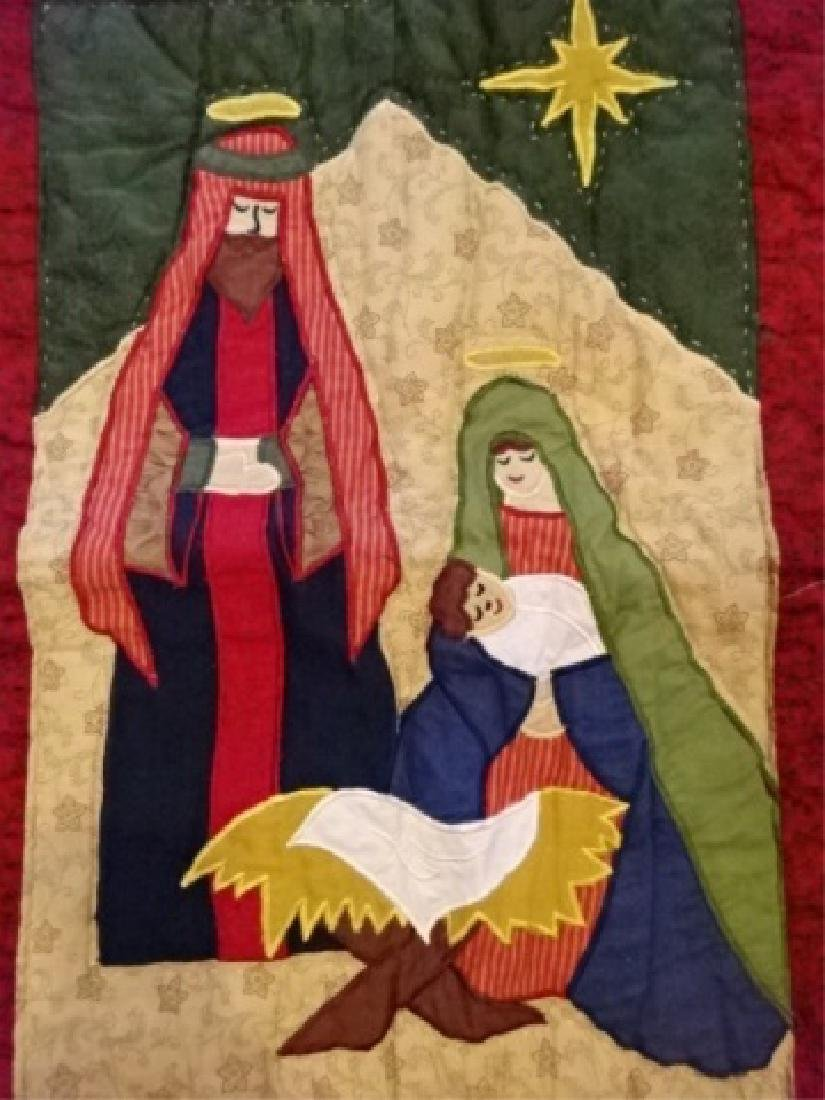 CHRISTMAS THEME QUILT, NATIVITY SCENE, VERY GOOD - 6