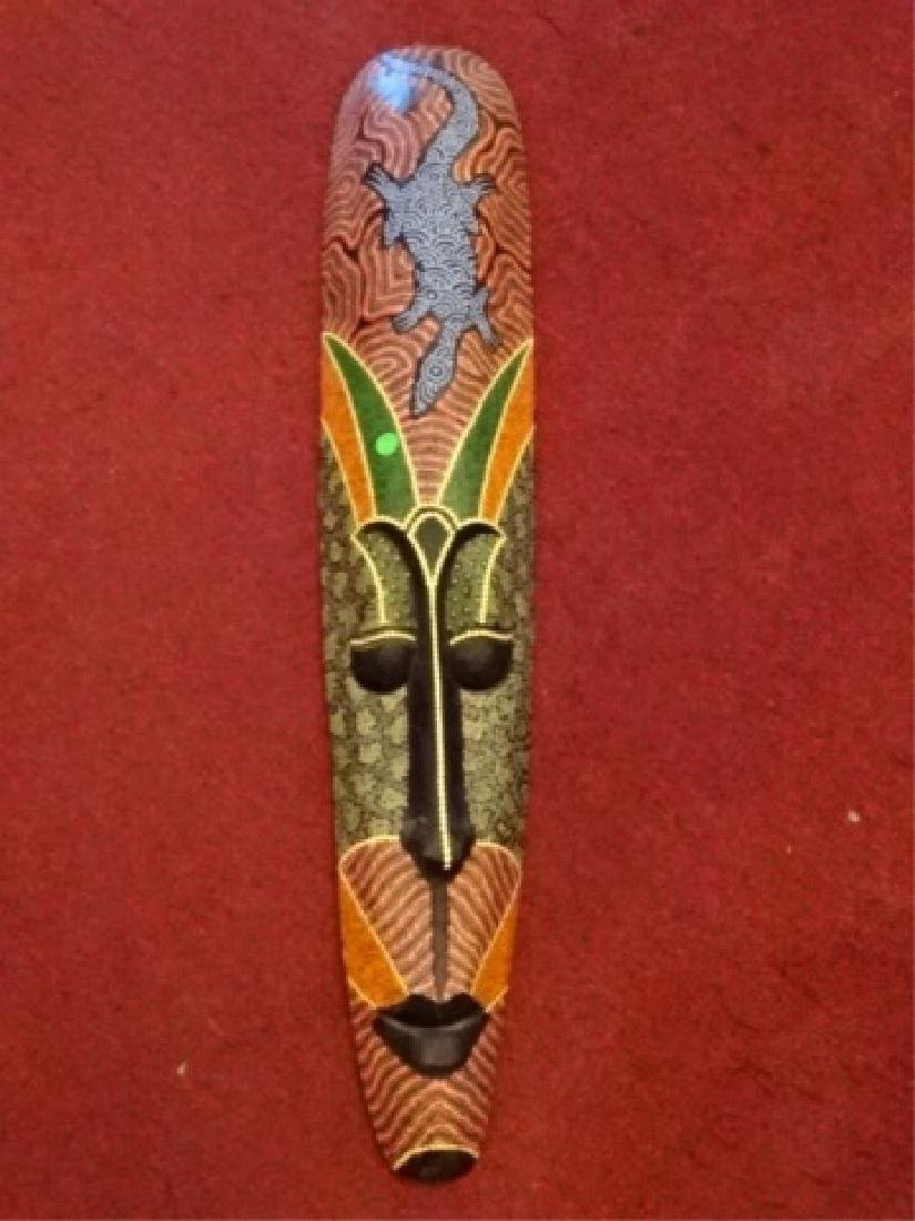 LARGE CARVED WOOD AFRICAN MASK, PAINTED FINISH, VERY