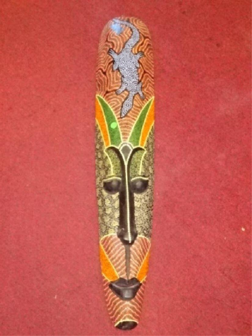 LARGE CARVED WOOD AFRICAN MASK, PAINTED FINISH, VERY - 2