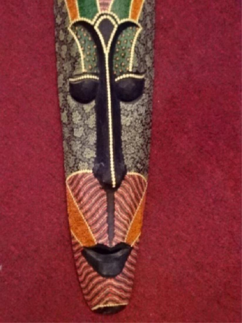 LARGE CARVED WOOD AFRICAN MASK, PAINTED FINISH, VERY - 3