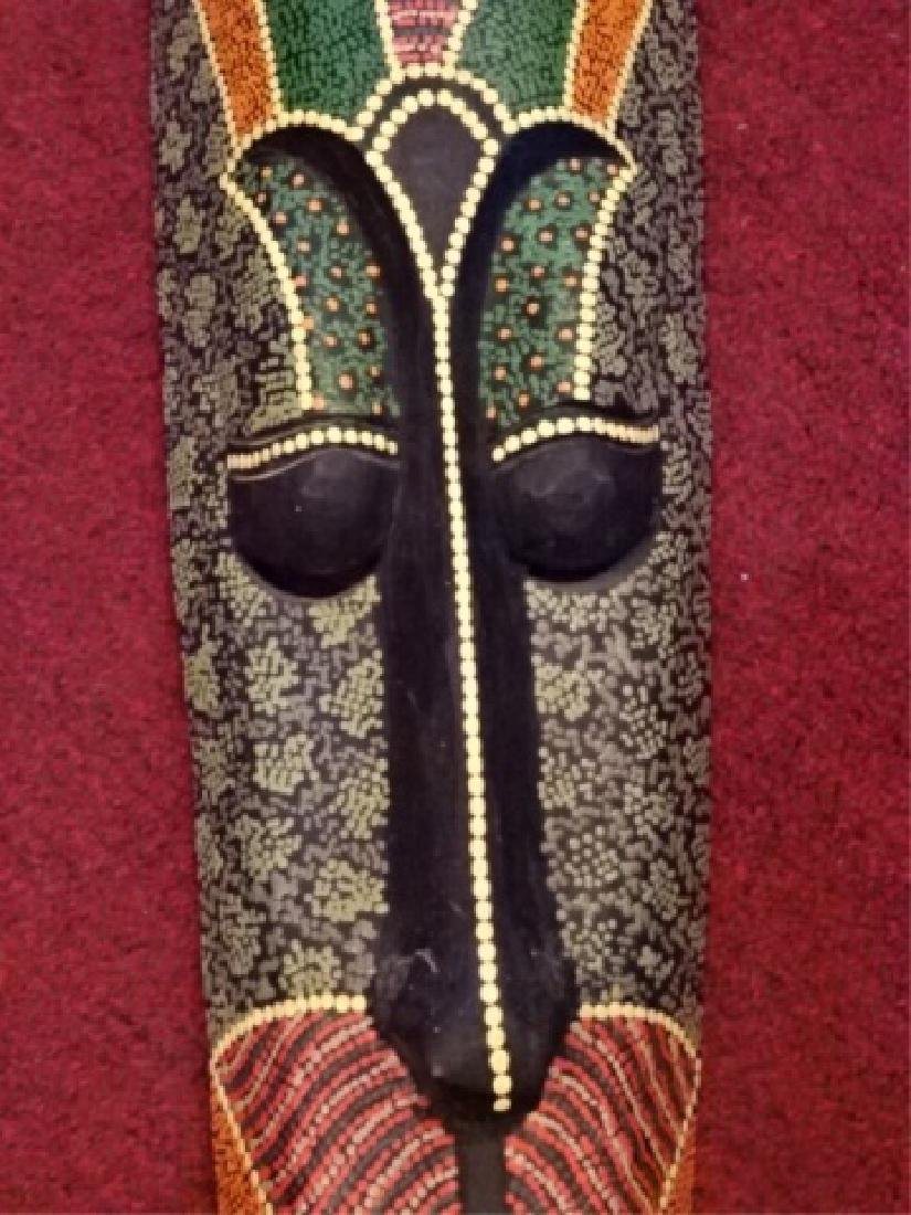 LARGE CARVED WOOD AFRICAN MASK, PAINTED FINISH, VERY - 4