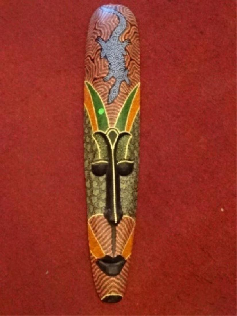 LARGE CARVED WOOD AFRICAN MASK, PAINTED FINISH, VERY - 6