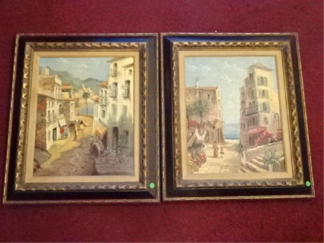 PAIR OIL ON CANVAS PAINTINGS, TROPICAL OCEAN FRONT CITY