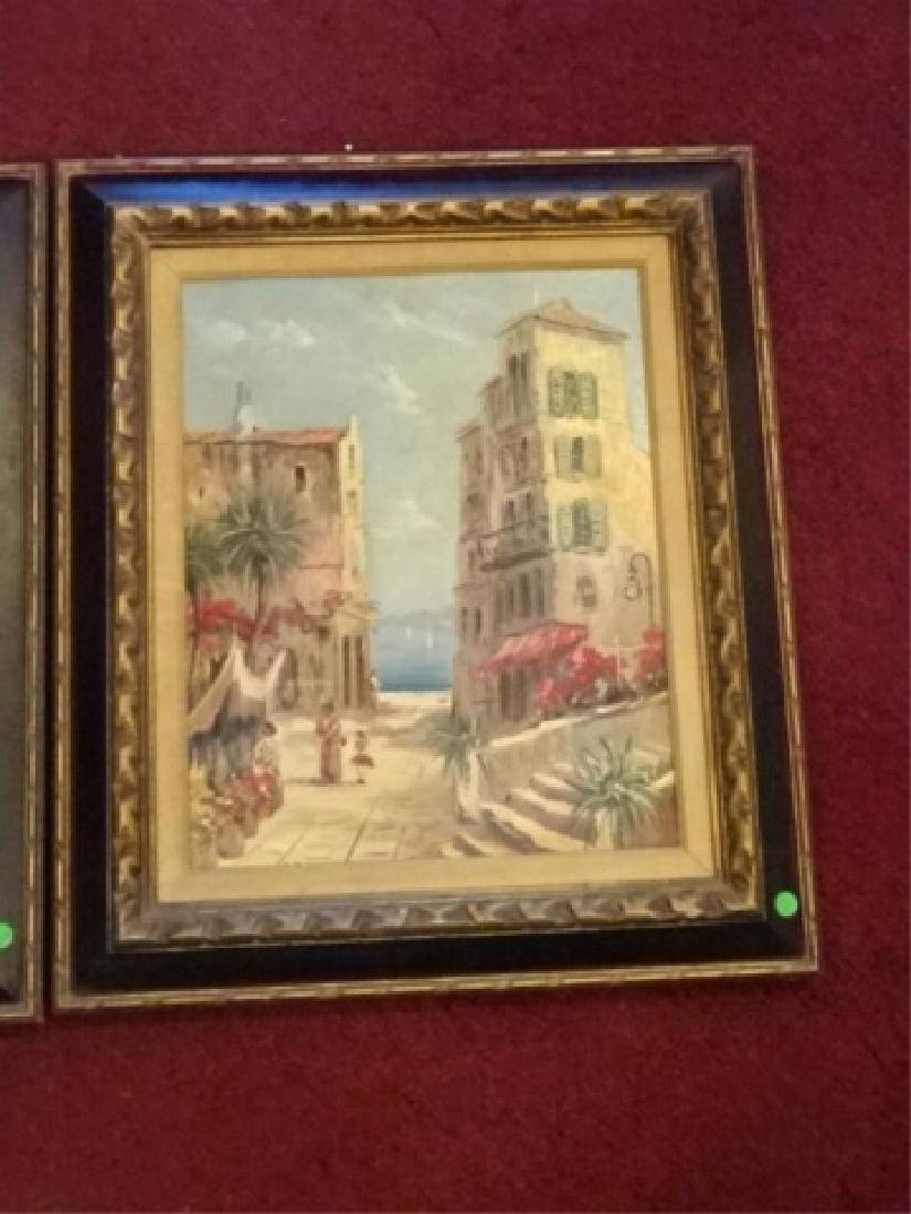 PAIR OIL ON CANVAS PAINTINGS, TROPICAL OCEAN FRONT CITY - 3