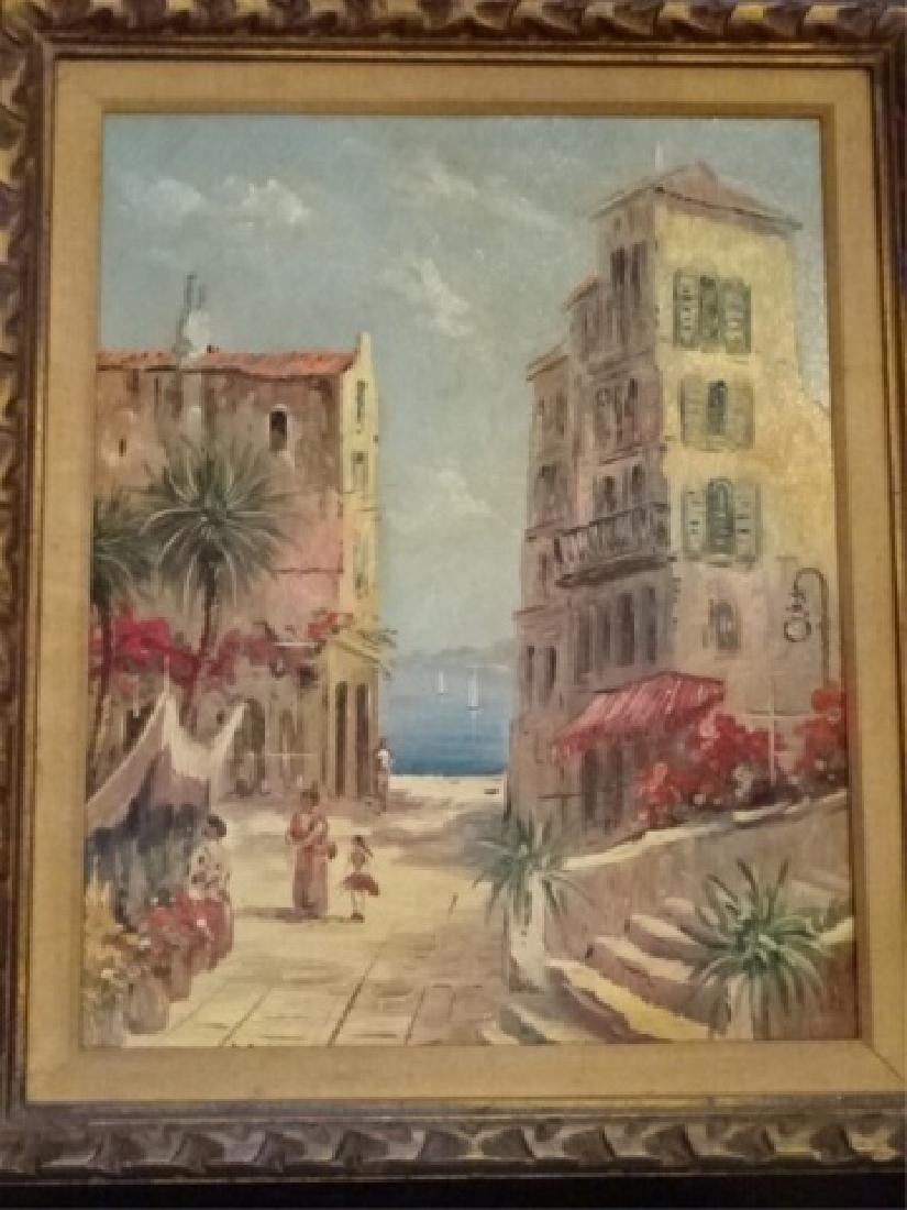 PAIR OIL ON CANVAS PAINTINGS, TROPICAL OCEAN FRONT CITY - 4