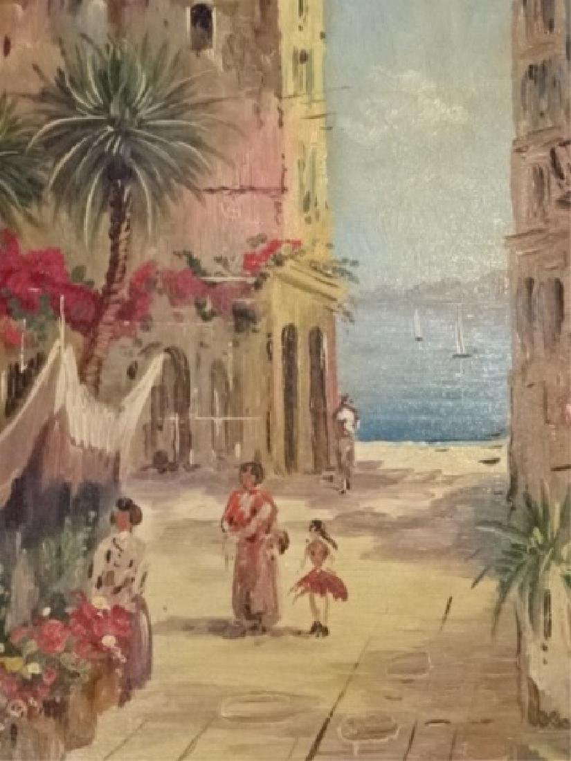 PAIR OIL ON CANVAS PAINTINGS, TROPICAL OCEAN FRONT CITY - 6