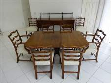 9 PIECE GEORGIAN STYLE DINING TABLE AND 8 CHAIRS (2