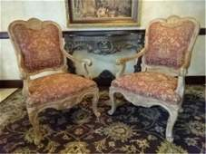 PAIR ROCOCO OPEN ARMCHAIRS LIGHT FINISH WOOD FRAMES R