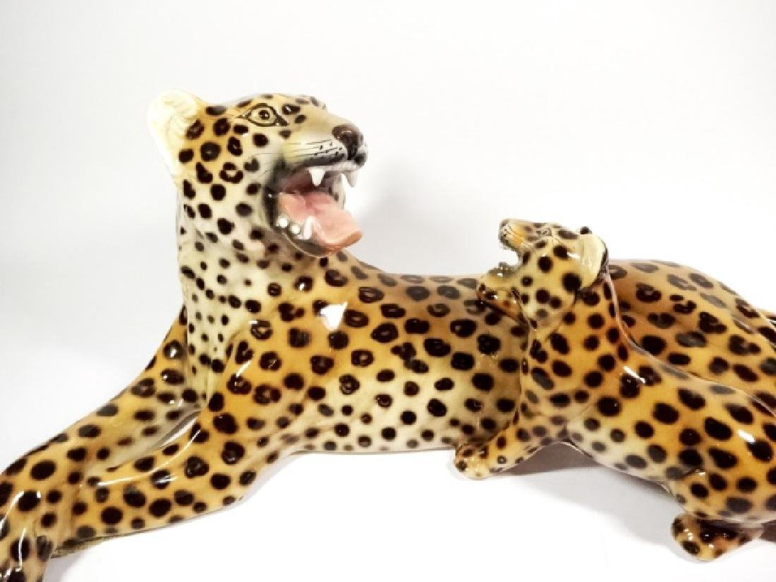HEYGILL HAND MADE CERAMIC LEOPARD WITH CUB, MADE IN - 2