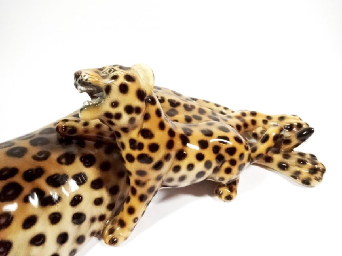 HEYGILL HAND MADE CERAMIC LEOPARD WITH CUB, MADE IN - 3